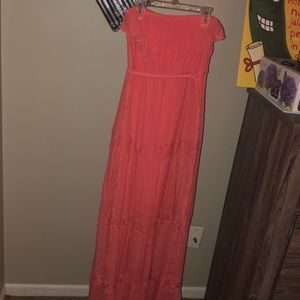 Coral maxi dress with lace inserts